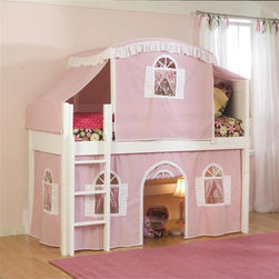 Bolton Furniture - Cottage Twin Loft Bed w Top Tent & Pink-White Bottom Curtain in White - Includes twin headboard & footboard, birch side rail set, low loft kit, Pink & White bottom curtains in front and two ends, top on Pink with White trim and top frame. Beds come complete with slat roll (no additional support necessary). Solid frame construction built to last. Bed assembly features barrel nut & bolt (metal to metal connections). Made of solid wood & veneers. Twin size bed. White finish. Assembly required. 1-Year warranty. 42 in. W x 65 in. D x 65 in. H. Low Loft Assembly Instructions. Curtains Assembly Instructions. Top Tent Assembly Instructions. Bunk Bed Warning. Please read before purchase.. NOTE: ivgStores DOES NOT offer assembly on loft beds or bunk beds.