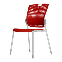 Humanscale - Red Cinto Chair - Those ratty old café or guest chairs have you seeing red? Time to switch them out with this stylish seat. The back and seat are made of bright red, pierced polypropylene that includes a cutout to move around with one hand.