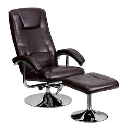 Flash Furniture - Contemporary Brown Leather Recliner and Ottoman with Chrome Base - This overstuffed leather recliner will look great in any room in the home or office. This set features plush padding throughout the chair and ottoman as well as sleek chrome bases. The durable leather upholstery allows for easy cleaning and regular care.