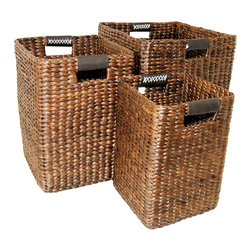 "Master Garden Products - Small Brown Water Hyacinth Square Bin, 10""W x 10""D x 14""H - Water hyacinth is a water plant grown wild in tropical countries. They grow rapidly in which they can be harvested within a month. These materials are highly sustainable and are hand-woven by skilled artisans. These beautiful square shaped basket bins with genuine leather loop handles are great for storing blankets, throws, pillows, laundry, toys, games and more."