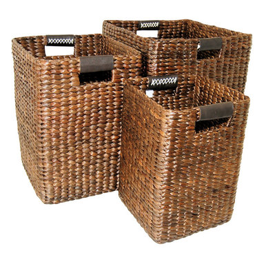 """Master Garden Products - Small Brown Water Hyacinth Square Bin, 10""""W x 10""""D x 14""""H - Water hyacinth is a water plant grown wild in tropical countries. They grow rapidly in which they can be harvested within a month. These materials are highly sustainable and are hand-woven by skilled artisans. These beautiful square shaped basket bins with genuine leather loop handles are great for storing blankets, throws, pillows, laundry, toys, games and more."""