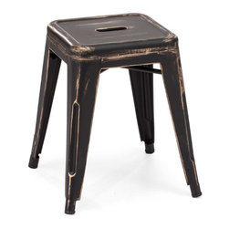 Zuo Era - Marius Stool Antique Black Gold - Create a contemporary or classical look in your kitchen, dining or home pub area with our Marius Stool. The sleek shape and style of this rich antique black gold finish stool complements any room decor.