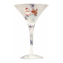 WL - Christmas Holiday Martini Glass with Santa Claus and Reindeer Design - This gorgeous Christmas Holiday Martini Glass with Santa Claus and Reindeer Design has the finest details and highest quality you will find anywhere! Christmas Holiday Martini Glass with Santa Claus and Reindeer Design is truly remarkable.