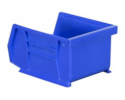 """Akro-Mils - Blue Stackable Storage Bins, 5.5""""- Set of 24 - AkroBins optimize your storage space. Control inventories, shorten assembly times and minimize parts handling. Heavy-duty polypropylene bins hang from Akro-Mils racks, panels, rails, and carts; securely stack atop each other and sit on shelving. AkroBins are unaffected by weak acids and alkalis. Sturdy, one-piece construction is water, rust and corrosion proof and guaranteed not to break. Autoclavable up to 250Degrees F."""