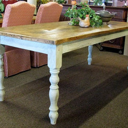 "French Country Dining Room Farm Table - STILL AVAILABLE!!  This is a fabulous french country style farm table with a primitive top and painted base. The table measures 85"" long x 34.5"" deep x 30.5"" high."