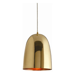 "Belle Pendant - Bell-shaped pendant light in polished brass with a copper-plated interior. These pendant lights hung together are great for creating a warm, intimate glow.Dimensions: 10""L x 10""W x 12""H Brass and copper plated finish Hardwired application Socket Type A- E26, keyless, 110-120V, wattage 40 Takes A19 incandescent bulbs Cord length: 10"""