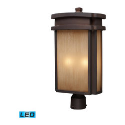 ELK - ELK 42144/2-LED Outdoor Post Light - Simplicity Of Craft And Form Gives The Sedona Collection A Very Attractive Look Through Its Minimalist Approach.  Inspired By The Architecture And Casual Lifestyle Of The Desert Southwest, This Collection Features Clean Lines With Recessed Edges, Caramel Beige Glass, And A Clay Bronze Finish. - LED, 800 Lumens (1600 Lumens Total) With Full Scale Dimming Range, 60 Watt (120 Watt Total)Equivalent , 120V Replaceable LED Bulb Included