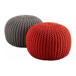 """Knitted Poufs - In case you hadn't noticed, poufs have taken over for bean bags. While you can't sink into them, they have a more uniform look, and, I don't know, if you do sit on them, you'll probably build up some killer thigh muscles in some sort of pilates kind of way. Regardless, they look good and add texture to your room. Handknit beanbag chairsextured cotton weaveGrey Pouf. 20""""dia.x14""""H"""