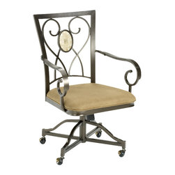 Hillsdale Furniture - Hillsdale Brookside Oval Caster Chair (Set of 2) - Our Brookside dining collection features the lustrous depth and beauty of fossil stone and the classic effect of transitional designs. A thick patterned ivory colored fossil stone veneer graces the sturdy  metal bases on the dining table, bistro table and buffet. The caster chairs have a traditionally scrolled design which boasts an oval fossil stone motif and micro suede seat fabric for easy care and long lasting beauty.