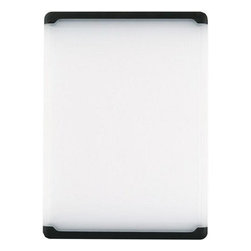 OXO Good Grips 10-1/2-by-15-Inch Utility Cutting Board, Black Edge - As much as I love my wooden cutting boards, I also have a plastic one on hand for use with raw meat. The best part is that it goes in the dishwasher for sterilization and easy cleaning.