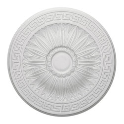 "Ekena Millwork - 20""OD x 3 3/4""ID x 1 3/8""P Randee Ceiling Medallion - Our ceiling medallion collections are modeled after original historical patterns and designs. Our artisans then hand carve an original piece. Being hand carved each piece is richly detailed with deep relief, sharp lines, and a truly unique touch. That master piece is then used to create a mould master. Once the mould master is created we use our high density urethane foam to form each medallion.  The finished look is a beautifully detailed, light weight, solid construction, focal piece. The resemblance to original plaster medallions is achieved only by using our high density urethane and not vacuum formed, ""plastic"" type medallions.  - Medallions can be cut using standard woodworking tools to add a hole for electrical or a ceiling fan canopy. - Medallions are light weight for easy installation. - They are fully primed and ready for your paint.  If you have any questions feel free to ask. These are in stock and available for immediate shipment."