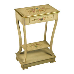 AA Importing - Wood Accent Table w Drawer in Crackle Finish - Garden design. 1 Drawer. 1 Shelf. With base. Assembly required. 18 in. L x 13 in. W x 33 in. H (29 lbs.)