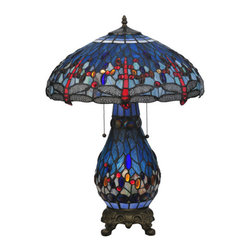 "Meyda Tiffany - 25.5""H Tiffany Hanginghead Dragonfly Lighted Base Table Lamp - One of Tiffany Studio's most beloved designs, Dragonflies dive and circle with glowing Scarlet jeweled eyes and delicate metal filigreed emerald wings circle over hand cut and copper foiled pieces of Blue and Green water-like rippled glass over a Sunset colored art glass accented with colorful jewel dew drops. The matching stained glass table lamp base is decorated with glass jewels and finished in a warm hand applied mahogany bronze."