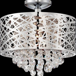 Lite Source - Lite Source EL-50100 Benedetta Modern / Contemporary Semi Flush Mount Ceiling Li - Spectacular laser cut chrome metal shades in a free form modern design. The magnificent full cut crystal droplets in a contemporary setting will add sparkle to any décor.