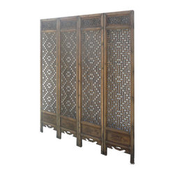 Golden Lotus - Set/4 Pieces Chinese Double Sides Geometric Pattern Carving Room Divider Panel - Look at this room divider panel which is made of solid elm wood.  It comes set four pieces, and each one has double sides carving on it.  One side has Chinese four seasons carving on it, and another side has Chinese Ru-Yi carving.  It is perfect to put in your house as room divider panel.