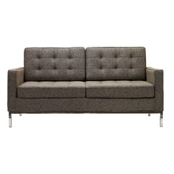 Florence Style Loveseat in Oatmeal Wool
