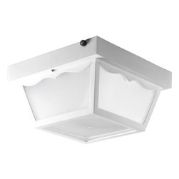 Progress - Progress Undefined Flush Mount Outdoor Lighting Fixture in White - Shown in picture: Two-light non-metallic close-to-ceiling. Integral photocell.