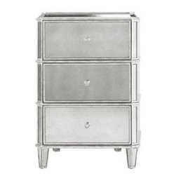 Drexel Heritage Faustine Mirrored Night Stand - This little night stand is glamorous and romantic. Put it in the only place you can add mirrored furniture — your bedroom, the kid-free zone! Reflect all the light all around your room.