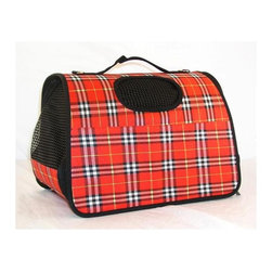 CMI - Soft-Side Valise Style Pet Carrier in Red Plaid - Small enough to meet carry-on regulations but spacious enough to keep your pet comfortable, this carrier is perfect for on-the-go lifestyles. It has a vibrant red plaid finish, while ventilated sides and top maintain proper air flow. It also has pockets for essential storage. Has many pockets to store things. This soft carrier meets most airline carry-on regulations . 16.5 in. W x 9 in. D x 12 in. H (36 lbs.)
