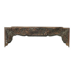 Golden Lotus - Old Chinese Gourd Trees Carving Wall Decor Panel Frame - This is an old panel / carving wood art with gourd trees scenery carving. It can be as a wall accent decoration or reframed as mirror or others.