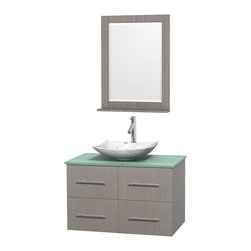 Wyndham Collection - 36 in. Single Bathroom Vanity in Gray Oak, Green Glass Countertop, Arista White - Simplicity and elegance combine in the perfect lines of the Centra vanity by the Wyndham Collection . If cutting-edge contemporary design is your style then the Centra vanity is for you - modern, chic and built to last a lifetime. Available with green glass, pure white man-made stone, ivory marble or white carrera marble counters, with stunning vessel or undermount sink(s) and matching mirror(s). Featuring soft close door hinges, drawer glides, and meticulously finished with brushed chrome hardware. The attention to detail on this beautiful vanity is second to none.