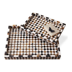 Kathy Kuo Home - Zanzibar Modern Rustic Global Bazaar Horn Inlay Trays - Serve up cocktails on these striking Zanzibar inlay trays, and prompt admiring coos from your guests.  This set of two stacking trays features a diamond mosaic pattern of alternating white resin and multi-colored horn, that will demonstrate your eye for global bazaar design. Even without martinis perched on them, these trays are simply delicious.