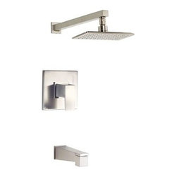 """Danze - Danze Mid-Town Tub and Shower Trim Kit - Brushed Nickel - Features Features Mono Chic 5"""" x 8' showerhead D460060 Diverter on spout Valve not included, must order separately All brass 12 3/4"""" showerarm View Spec Sheet"""