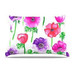 "Kess InHouse - Anneline Sophia ""Anemones"" Pink Flowers Pillow Case, King (36"" x 20"") - This pillowcase, is just as bunny soft as the Kess InHouse duvet. It's made of microfiber velvety fleece. This machine washable fleece pillow case is the perfect accent to any duvet. Be your Bed's Curator."