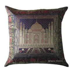 Dark Purple Tajmahal Decorative Accent Silk Brocade Pillow Cover -