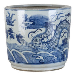 Oriental Danny - Blue and White Porcelain Pot, Dragon Design - Hand painted blue and white porcelain pot in dragon design. Good size for flower arrangement or display as floor planter.