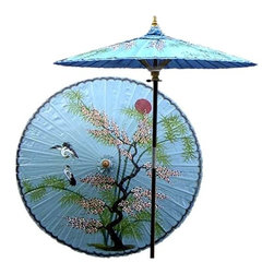 Oriental Unlimted - Asian Splendor Patio Umbrella in Andaman Blue - Choose Base: NoneHandcrafted and hand-painted by master artisans. 100% Waterproof and extremely durable. Umbrella shade can be set at 2 different heights, 1 for maximum shade coverage and the other for a better view of the shade. An optional base, which secures the umbrella rod and shade against strong winds and rain. Patio umbrella rod and base is constructed of stained oak hardwood for a rich look and durable design. Umbrella shade is made of oil-treated cotton. Minimal assembly required. Canopy: 76 in. D x 84 in. HThis one-of-a-kind patio umbrella is completely handcrafted with a beautiful hand-painted design of an Asian landscape on top.
