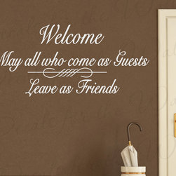 Decals for the Wall - Wall Decal Art Sticker Quote Vinyl Welcome Enter as Guests, Leave as Friends FR7 - This decal says ''Welcome, may all who come as guests leave as friends''
