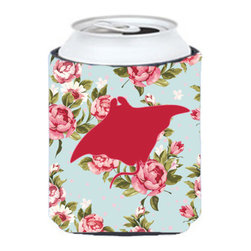Caroline's Treasures - Manta ray Shabby Chic Blue Roses Can or Bottle Hugger BB1014 - Can Cooler - this collapsible koozie fits 12 ounce beverage. Cans or bottles. Permanently dyed and fade resistant. Will not crack or peel. Great to show off your breed. Match with one of the insulated coolers for a nice gift pack.