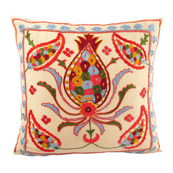 Handmade Suzani Pillow Cover -  usp109 - Suzani pillow cover from Uzbekistan. Hand embroidered with naturally dyed. Anatolian and central Asian patterns. Great for Boho-Chic, Bohemian decorating style, and can also be mixed with contemporary, modern or traditional decor. Check out our Facebook and Pinterest pages for examples of suzanis placed in rooms featured in Elle Decor, Vogue, and other magazines.