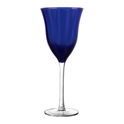 Qualia - Meridian Cobalt Wine Glasses, Set of 4 - Bring a pop of vibrant color to your kitchen with the Meridian Cobalt Wine Glasses. The clear stems and blue bowls give the glasses a sleek, bold look that pairs well with contemporary decor. Dishwasher safe.