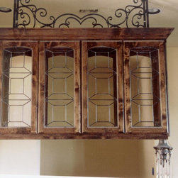 Custom art glass cor hanging cabinets - Hanging cabinets for a Mediterranean/Spanish style home