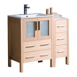 Fresca torino 36 inch white modern bathroom vanity with undermount - Fresca 36 Inch Modern Single Sink Vanity In Espresso Light Oak