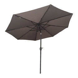 Sunny Outdoor - Brown 9' Solar Power Lighting Parasol - Create an exotic ambiance for your porch, garden or patio with this stylish solar-powered parasol that charges during the day, and lights up at night.   Assembly required Aluminum Imported