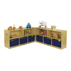 "Ecr4kids - Ecr4Kids Home Kids Room Toy Storage 24"" Fold And Lock Cabinet - 5 Compartment - Low Mobile Fold and Lock Classroom Storage Cabinet"