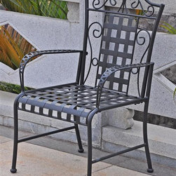 International Caravan - 27 in. Patio Chair - Set of 2 - Set of 2. Dual weather resistant coating. UV light fading protection. Deep seating comfort. Beautiful iron scroll design. Distressed finish. Made from premium wrought iron. Premium antique black powder coated finish. Minimal assembly required. 27 in. W x 22 in. H x 40 in. H (24 lbs.)