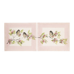 Cotton Tale Designs - Nightingale Wall Art (2 Pc) - A quality baby bedding set is essential in making your nursery warm and inviting. All N. Selby patterns are made using the finest quality materials and are uniquely designed to create an elegant and sophisticated nursery. The Nightingale wall art is two 16 x 14 inch pieces. They can be used as diptych or separately. Nightingales wall art is Hand painted on natural canvas. Can be hung by attached ribbons or framed for the perfect final touch to your little girls amazing nursery. Made in the USA. Dust clean only.