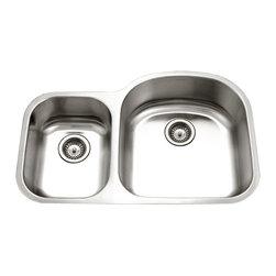 Houzer - Houzer STC-2200SL 30/70 Double Bowl Undermount Sink - Houzer stainless steel kitchen sink Undermount 18 gauge Eston 70/30 Double Bowl Small Bowl Left