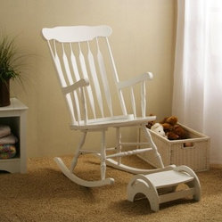 White Nursery Rocker & Stool