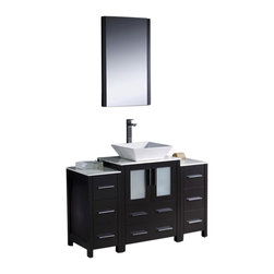 """Fresca - 48"""" Espresso Vanity w/ 2 Side Cabinets & Vessel Si Soana Brushed Nickel Faucet - Fresca is pleased to usher in a new age of customization with the introduction of its Torino line.  The frosted glass panels of the doors balance out the sleek and modern lines of Torino, making it fit perfectly in eithertown or country decor."""