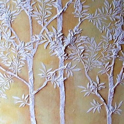 Raised Plaster Life-sized Sapling Tree Stencil Set - All of the stencils you need are included in this set:
