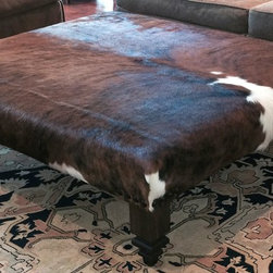 Cowhide Ottoman - Exotic Brindle Hide - Handcrafted 5' x 5' Ottoman