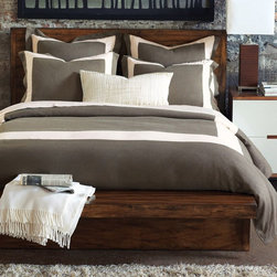 Breeze Mitered Linen Clay With Pearl Duvet Cover - I adore the color in this set. It screams fall to me!