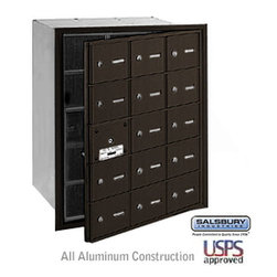 Salsbury Industries - 4B+ Horizontal Mailbox - 15 A Doors (14 usable) - Bronze - Front Loading - USPS - 4B+ Horizontal Mailbox - 15 A Doors (14 usable) - Bronze - Front Loading - USPS Access
