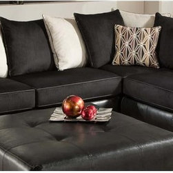 Chelsea Home - 2-Pc Grant Sectional Set - Includes right arm facing chaise and left arm facing sofa with toss pillows. Ottoman not included. Medium seating comfort. Reversible seat cushion. Nailed, stapled and corner blocked frame. Cover: San Marino martin/ebony/beach/peppercorn. Fabric content: 78% poly vinyl chloride, 2% polyurethane, 20% TC Backing/100% polyester. 1.5 dacron wrapped foam cores. Constructed with sinuous springs to provide no sag seating. Made from solid hardwoods and plywoods. Made in USA. No assembly required. Chaise: 91 in. L x 38 in. W x 38 in. H (155 lbs.). Sofa: 81 in. L x 38 in. W x 38 in. H (125 lbs.). Overall: 119 in. - 91 in. L x 38 in. W x 38 in. H (280 lbs.)