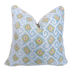 "Pre-owned Blue & Green Ethnic Paisley Print Designer Pillow - This Turkish paisley block-print patterned pillow is right on trend! The pillow case measures 20""x20"" and includes welt cord detail. The front of the pillow is in very soft designer fabric in light blue, turquoise, kiwi and pink paisley. The back is in a white cotton quilt in a herringbone pattern, and there is a concealed zipper. Please note that the pillow insert is not included."